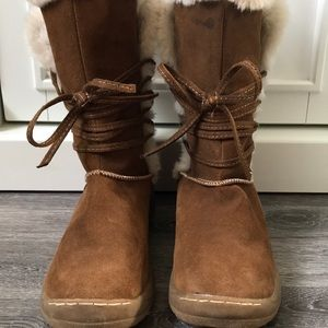 Merona Target Brown Suede & Fur Boots 7 1/2